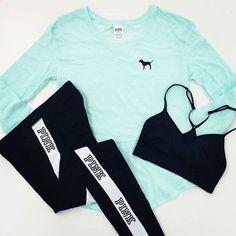 Victoria's Secret Pink workout clothes | Cute workout clothes for women | Sport Bras | Workout tights @ http://www.FitnessApparelExpress.com