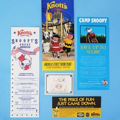 Take a nostalgia trip to Knott's Berry Farm and Knott's Camp Snoopy! Our shop has brochures, souvenirs and memorabilia from the famous Peanuts theme park, available in our shop at CollectPeanuts.com.
