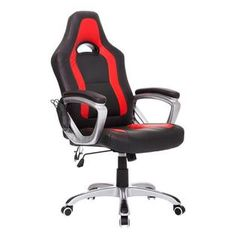 HomCom Race Car Style PU Leather Heated Massaging Office Chair - Black and Red   $110 @Kmart reg $203