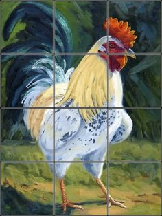 My Rooster, Rocky Tile Mural | Pacifica Tile Art Studio