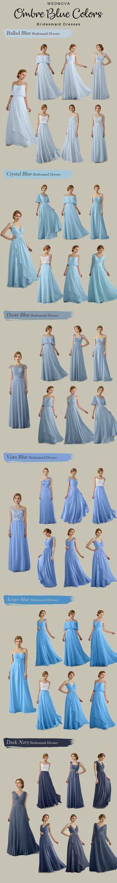 Ombre blue bridesmaid dresses different style dresses long suitable for different bridesmaid #bridesmaids blue bridesmaid dresses | blue bridesmaid dresses long | long dresses classy |v neck dresses | v neck dresses formal