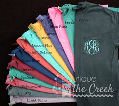 Comfort Colors Brand Monogrammed Pocket Tee by BoutiqueByTheCreek, Natural Circle