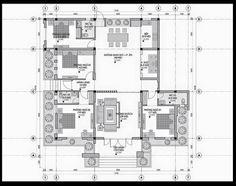 ban ve mau thiet ke biet thu san vuon 1 tang dep mai thai tang 1 Simple Floor Plans, Civil Construction, Pallet Furniture, My Dream, My House, House Plans, Sweet Home, Villa, House Design