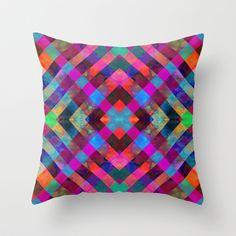 Rio Plaid Throw Pillow by schatzibrown #diamond #geometric #pattern