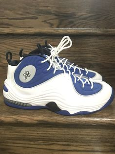 online retailer 0c354 b2baa New Mens Nike Air Penny 2 II Atlantic Blue/ White Basketball Shoes Sz. 9.5