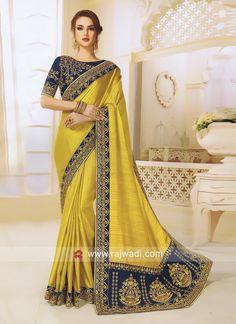 Lehenga Choli, Sarees, Wedding Sari, Yellow Fabric, Pink Saree, Embroidered Silk, Blouse Designs, Festive, Glamour