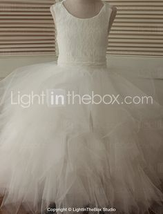Ball Gown Ankle-length Flower Girl Dress - Lace / Tulle Sleeveless Scoop with Cascading Ruffles 2016 - $79.99
