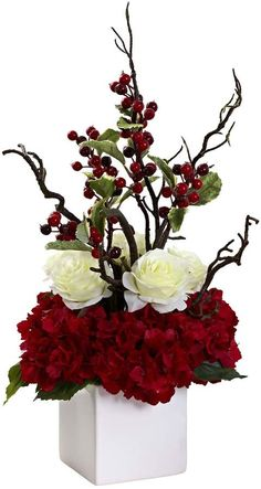 A table-top centerpiece that celebrates Winter, the Holiday Cheers Arrangement with Vase provides a splash of color to your décor year after. Hortensien Arrangements, Christmas Flower Arrangements, Artificial Flower Arrangements, Christmas Flowers, Wedding Flower Arrangements, Artificial Flowers, Wedding Flowers, Christmas Decorations, Holiday Decor