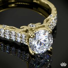 18k Yellow Gold Verragio Dual Row Shared-Prong Diamond Engagement Ring from the Verragio Insignia Collection.