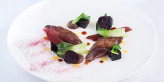 Chef Matt Worswick's recipe for indulgent roast wood pigeon with black pudding and baby beets.