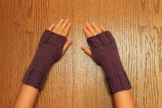 I need these for studying in my apartment..!    Hand Knit Fingerless Mittens/Gloves  Light Purple by merriam71, $8.99