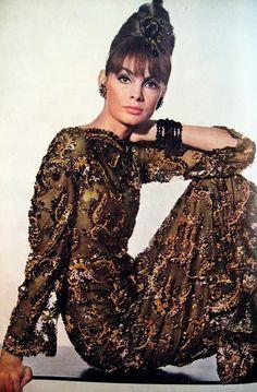 Jean Shrimpton - Beaded Dark Brown Long Sleeved Gown 1963
