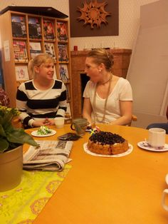 My sweet colleagues - Gabriella and Elin. We create magic together, but here we are etaing cake :)