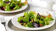 Beetroot salad served with cinnamon, honey-coated walnuts and soft goats' cheese----nomnom