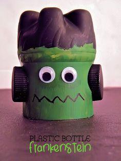 Plastic Bottle Frankenstein Halloween Craft