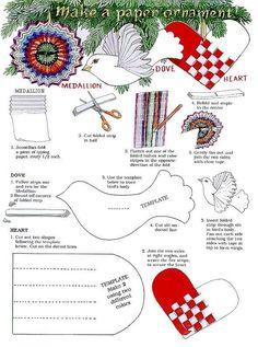 Jan Brett Christmas tree ornaments (including Danish woven paper heart template)
