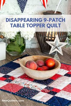 Tutorial and quilt pattern for a charming disappearing table topper simple enough for quilting beginners. Quilting 101, Quilting For Beginners, Sewing Projects For Beginners, Quilting Tutorials, Quilt Blocks Easy, Easy Quilts, Amish Quilts, Small Quilt Projects, Quilting Projects