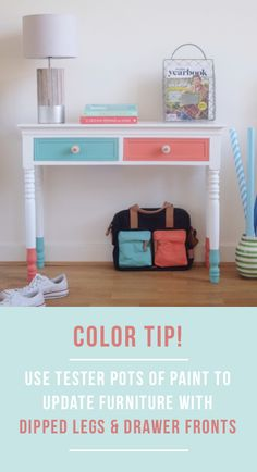 Color tip! Use left over paint or tester pots to update an existing sideboard by painting drawer fronts and dipping the legs. Find more inspiring ideas for decorating with color in Bright.Bazaar's INTERIORS BOOK! http://www.amazon.com/gp/product/1250042011/