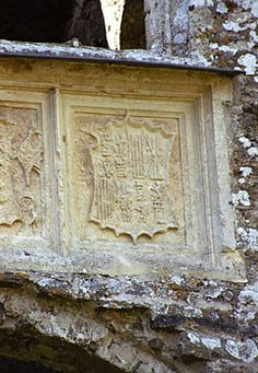 Arms of Catherine of Aragon at Carew Castle in Wales.