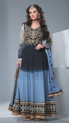 Evelyn Sharma Black & Blue Shaded Anarkali Dress Material