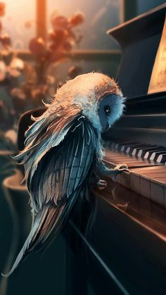 Eule am Klavier Eule am Klavier, Owl at the piano Owl Dark Fantasy Art, Fantasy Artwork, Dark Art, Digital Art Fantasy, Mythical Creatures Art, Fantasy Creatures, Arte Obscura, Cute Animal Drawings, Amazing Art
