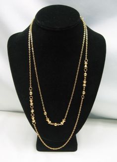 Goldtone-Chain-NECKLACE-Vintage-With-Spool-Shape-Beads-48-Length