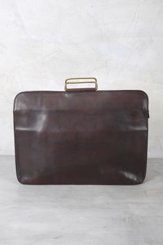 17MUN DARK BROWN LEATHER SQUARED BRIEFCASE by Munoz Vrandecic