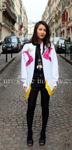 Look from my photoshoot with Alexis,  the co-creator of Sans Culotte Sans Papiers, a trendy parisian brand. // My Style Influencer : Jacket « Ai-je droit au RSA ? » SCSP Short Vintage Neckace HM - great location!