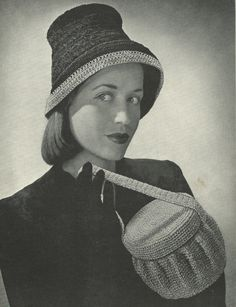 Vintage 1940 Hat with Pill Box Purse Crochet by FayWestRomance, $3.00