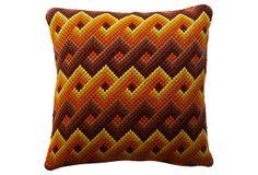 Needlpoint Pillow w/ Brown Patterns on OneKingsLane.com