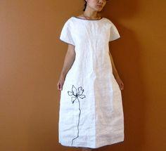 custom Black lotus on white linen  dress by annyschooclothing, $168.00