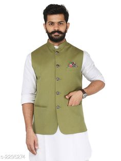 Ethnic Jackets Stylish Cotton Viscous Blend Printed Ethnic Jacket Fabric: Cotton Viscous Blend Sleeves: Sleeves Are Not Included Size: 36 in 38 in 40 in 42 in 44 in (Refer Size Chart) Length: (Refer Size Chart) Type: Stitched Description: It Has 1 Piece of Men's Ethnic Jacket Pattern:Solid  Country of Origin: India Sizes Available: 36, 38, 40, 42, 44, 46   Catalog Rating: ★4.2 (993)  Catalog Name: Men's Stylish Cotton Viscous Blend Printed Ethnic Jackets Vol 1 CatalogID_306072 C66-SC1202 Code: 386-2295274-9012
