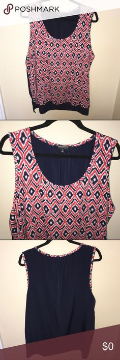 Jones New York Tank Cute red, white, & blue Jones New York tank. Patterned front with solid navy blue back. Super cute with jeans. Looks great with a red or navy cardigan or jacket. Cute, fun piece for your closet. Like new, washed & worn once. No flaws or stains.😊 Jones New York Tops Tank Tops