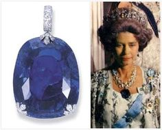 Cartier's 478.68 carat Sapphire from The Greek Pearl and Diamond Necklace-Tiara, worn here as a pendant by Queen Frederika of Greece. (=)