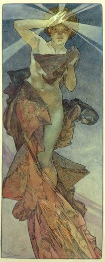 """Alphonse Mucha (1860-1939). The Moon and the Stars: study for """"The Morning Star"""". 1902. Ink and watercolour on paper. Mucha Museum - Prague - Czech Republic"""
