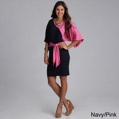 Biacci Women's Two-tone Dolman Sleeve Dress