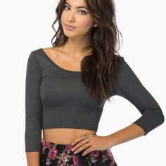 Tobi Charcoal Crop Top New without tags, polyester/rayon/spandex blend.  Length: 40.64cm. Sleeve length: 43.18cm. Bottom opening: 60.96cm. Fits like an xs/s. The model is wearing a size small.  Got it for about 42 with tax so just trying to make a little back  Tobi Tops Crop Tops