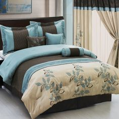 Painting of Teal and Brown Bedding Product Selections