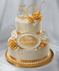 A golden anniversary cake to celebrate 50 years of marriage