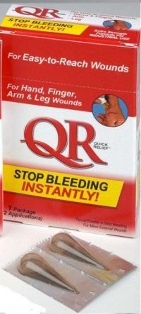 "Stop Bleeding: QR Quick Relief®  ""Powder Bandage"" Stops Blood Loss"