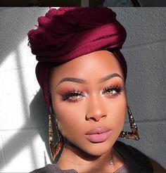 Wine Red Black Women Turban Turban Women Women Head wrap Head wrap Women Black Woman Headwrap - Care - Skin care , beauty ideas and skin care tips Flawless Makeup, Beauty Makeup, Eye Makeup, Hair Makeup, Hair Beauty, Makeup Desk, Makeup Salon, Stunning Makeup, Makeup Studio