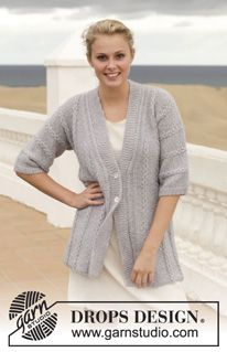 "Knitted DROPS jacket with cables in ""Alpaca"" and ""Alpaca Silk"" or ""Vivaldi"". Size: S - XXXL. ~ DROPS Design"