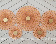 Peach and Gold Paper Rosettes, Set of Five (5)