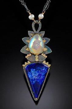 cynthia mann designs  Sterling silver, 18k,& 14k Malachite/azurite, siica druse, pearls