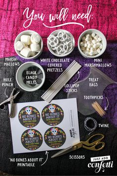 No Bones About It—You're a Sweet Friend: Marshmallow and Pretzel Skeletons – Just Add Confetti - Kids halloween Halloween Treats For Kids, Halloween Goodies, Halloween Desserts, Halloween Birthday, Halloween Gifts, Holiday Treats, Holiday Recipes, Halloween Stuff, Candy Recipes