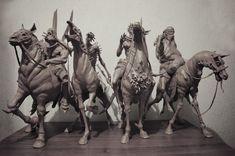 ArtStation - Four Horsemen of the Apocalypse, Sadan Vague Apocalypse Tattoo, Apocalypse Art, Horsemen Of The Apocalypse, Roman Sculpture, Sculpture Art, Animal Sculptures, Mythological Creatures, Fantasy Creatures, Samael Angel