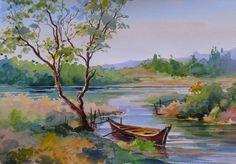 Chitra Vaidya studied fine art from Sir J. School of Art, Mumbai. Scenery Paintings, Watercolor Landscape Paintings, Fantasy Paintings, Watercolor Artwork, Cool Paintings, Easy Watercolor, Painting Abstract, Watercolor Paintings For Beginners, Art Drawings For Kids