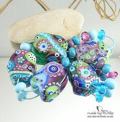 Handmade lampwork beads -- free-formed -- C o t t o n W o o l L y r i c s -- SRA -- glass set -- made by Silke Buechler via Etsy