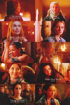 Melisandre: Red Priestess of Asshai. Mordane: Septa of Winterfell. Cersei Lannister: Queen Regent of Westeros. Sansa Stark: Daughter of Winterfell. Doreah: Handmaiden. Jhiqui: Handmaiden. Catelyen Tully: Lady of Winterfell. Mirri Maz Duur: Maegi. Talisa Maegyr: Queen of the North. Roslin Frey: Daughter of the Twins