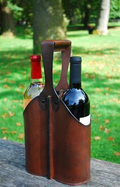 Leather double wine bottle caddy. Etsy sale item (sold).